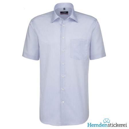 Seidensticker Hemd REGULAR 1/2 Arm Kent-Kragen Brusttasche Blau