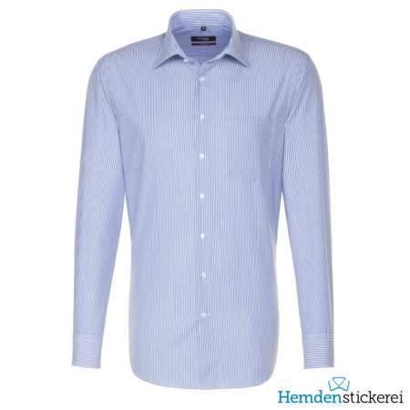 Seidensticker Hemd REGULAR 1/1 Arm Kent-Kragen Brusttasche Blau gestreift