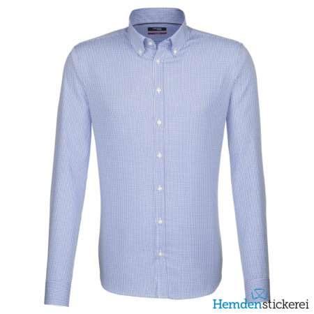 Seidensticker Hemd REGULAR 1/1 Arm Kent-Kragen Brusttasche Blau Karo-Optik