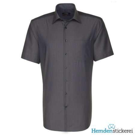Seidensticker Hemd REGULAR 1/2 Arm Kent-Kragen Brusttasche Grau