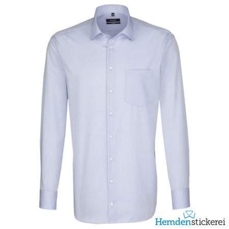 Seidensticker Hemd COMFORT 1/1 Arm Kent-Kragen Brusttasche Kent-Kragen Blau